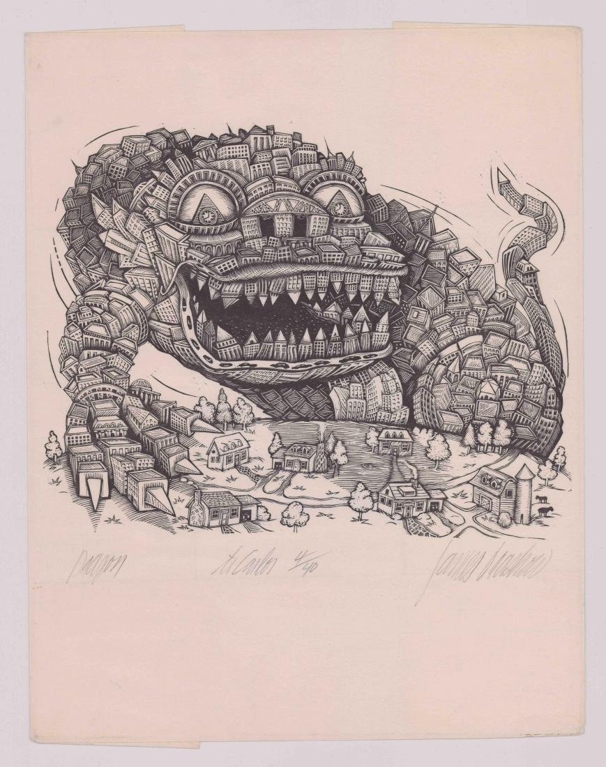 James Grashow Woodcut Print [Dragon] - 2