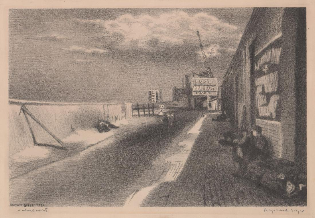 Raphael Soyer Lithograph [Waterfront]