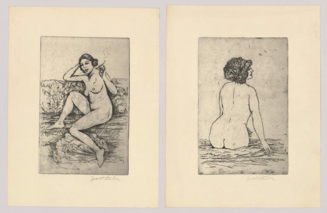 Walt Kuhn Etchings, Two Signed Female Nudes
