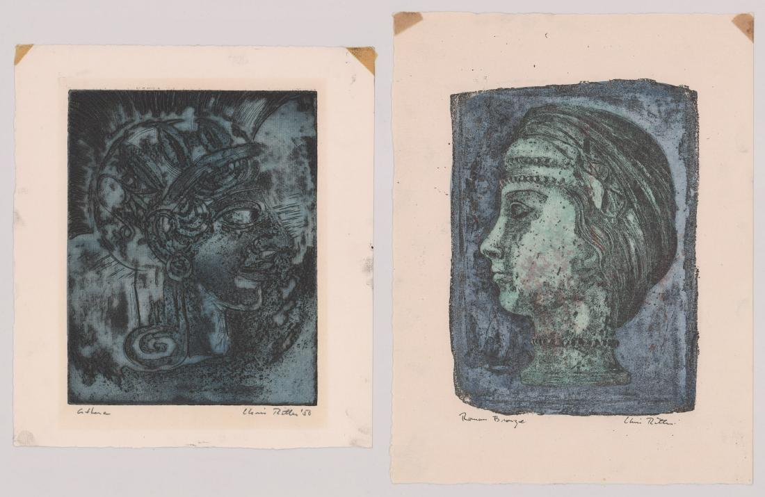Chris Ritter Etchings Athena and Roman Bronze