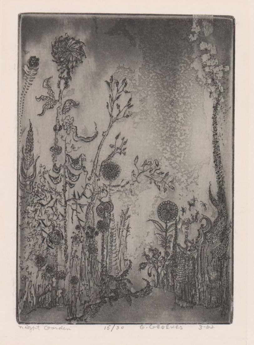 Mid-Century Signed Etching [Night Garden]