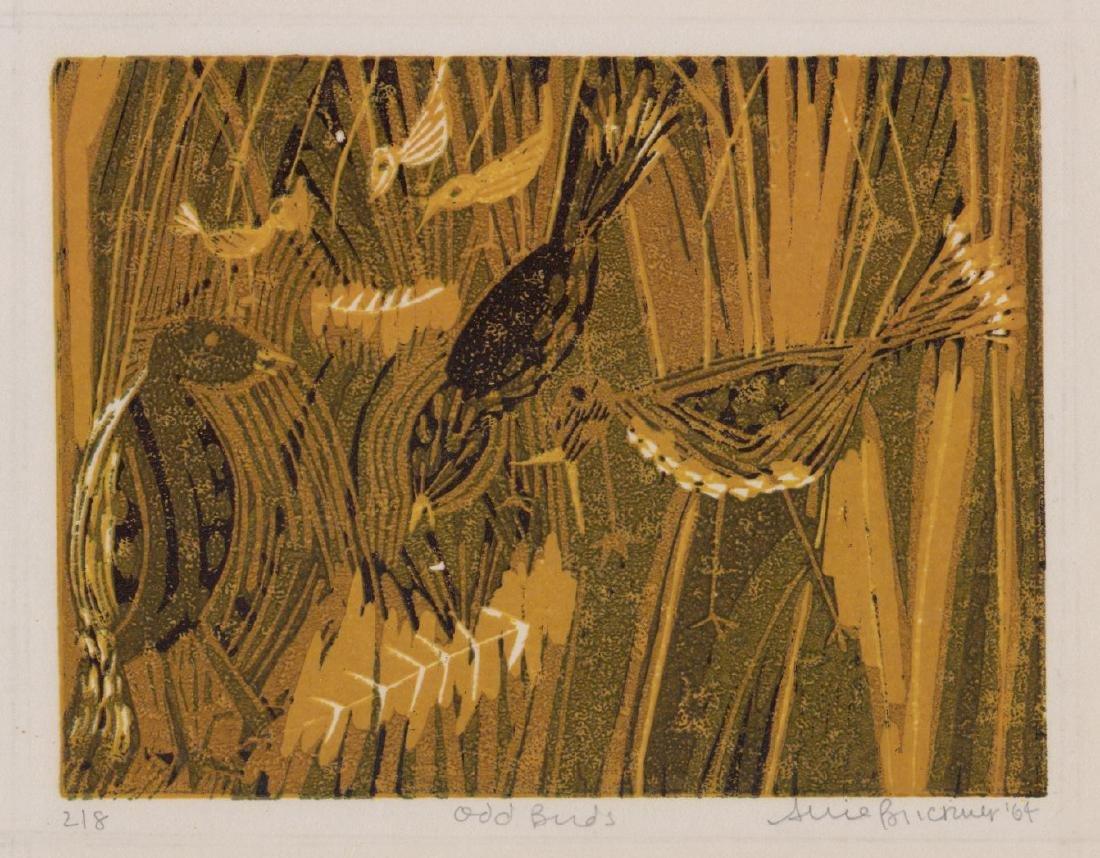A Mid-Century Signed Illegibly Print [Odd Birds]