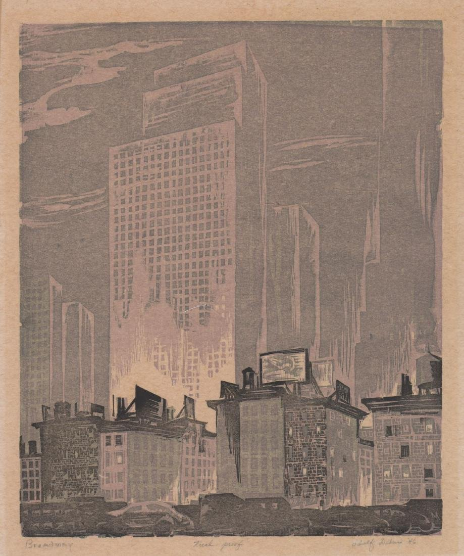 Adolf Dehn Woodblock Print [Broadway]