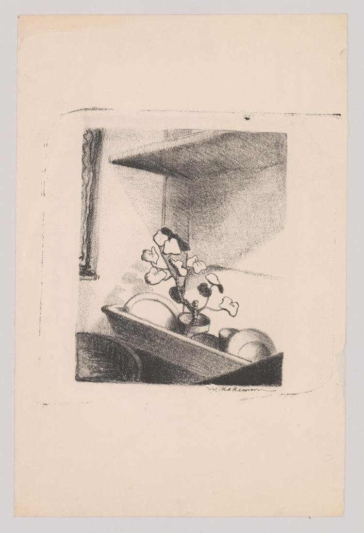 An Old Still Life Lithograph Signed Illegibly - 2