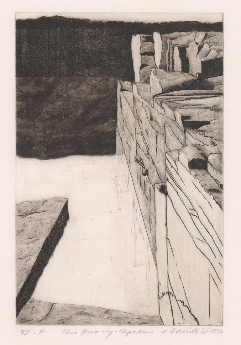 The Quarry, Cape Ann Etching Signed Illegibly