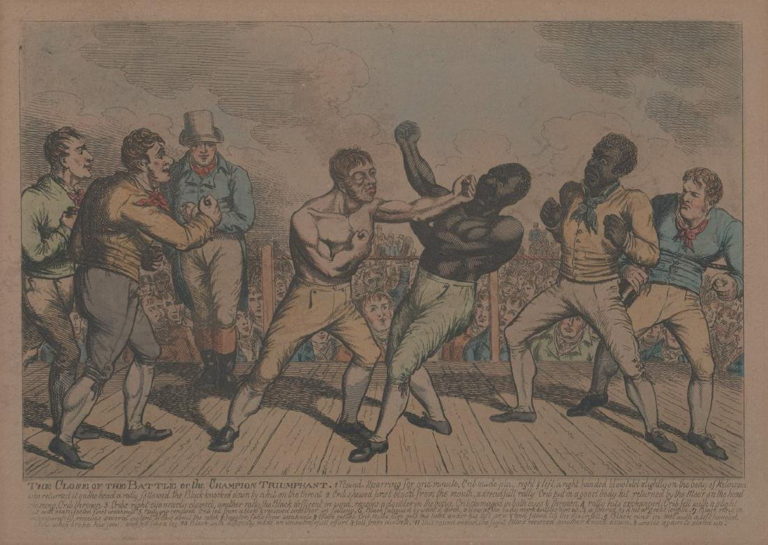 An Antique Color Etching Of Boxing Match