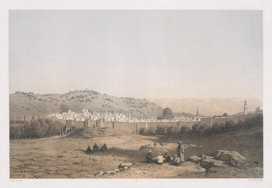 Antique Lithograph [Jerusalem Et Le Mont]