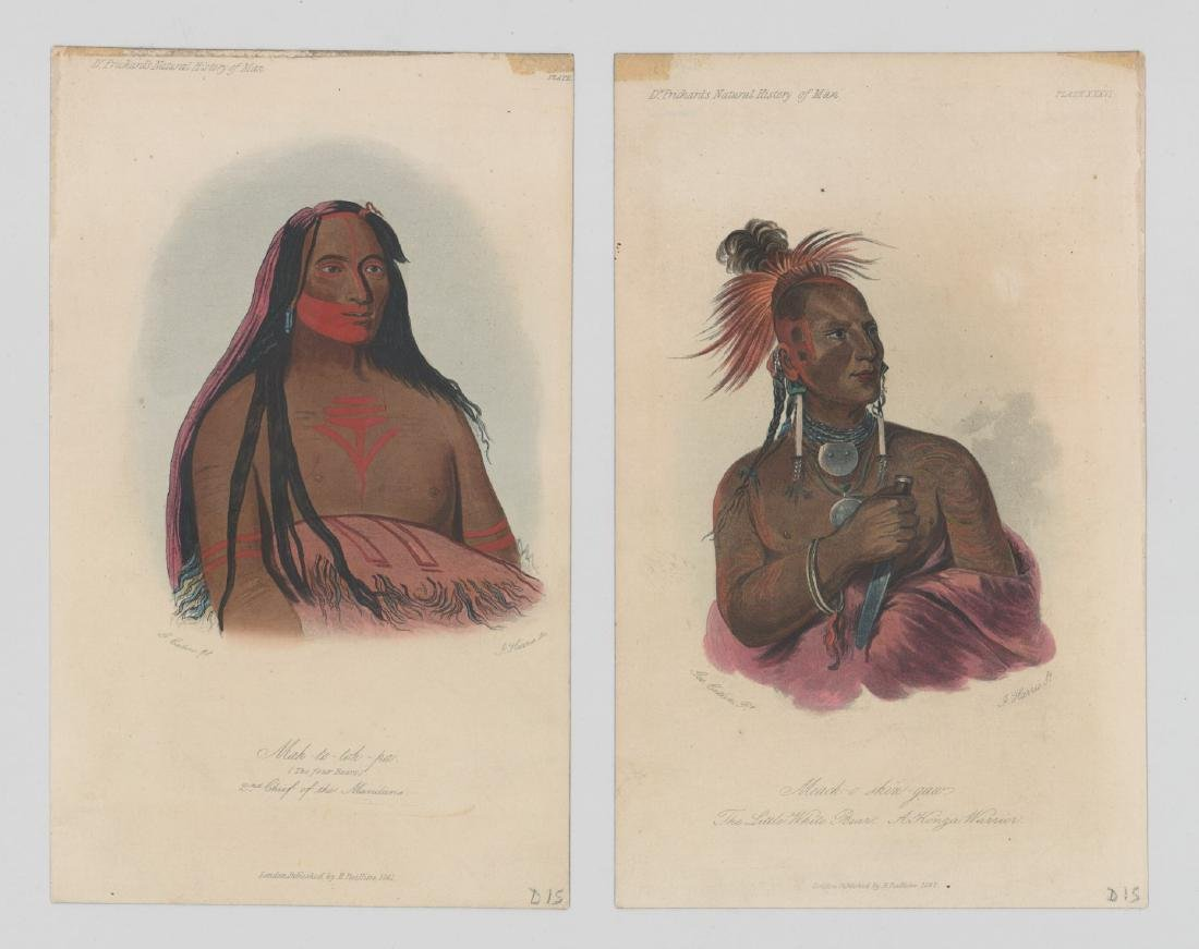 George Catlin Pair of Antique Color Lithographs