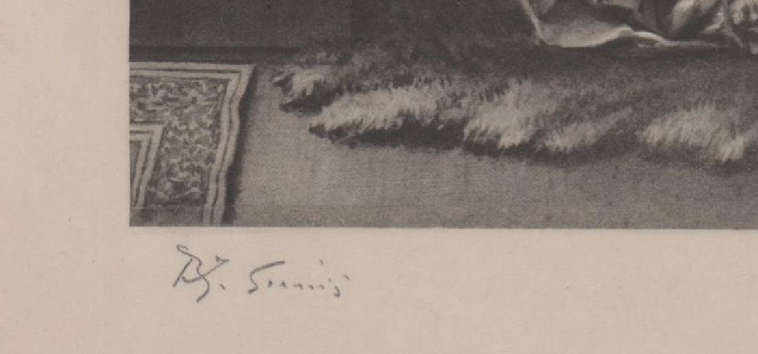 An Antique Signed Print on Tissue - 3