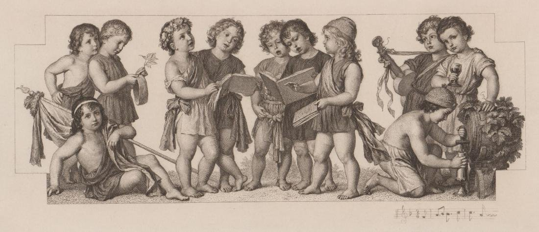 An Antique Etching Children's Choir and Wine
