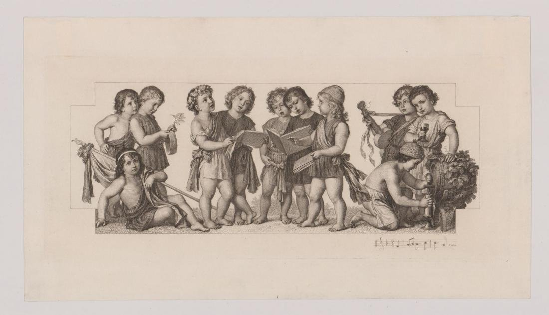 An Antique Etching Children's Choir and Wine - 2