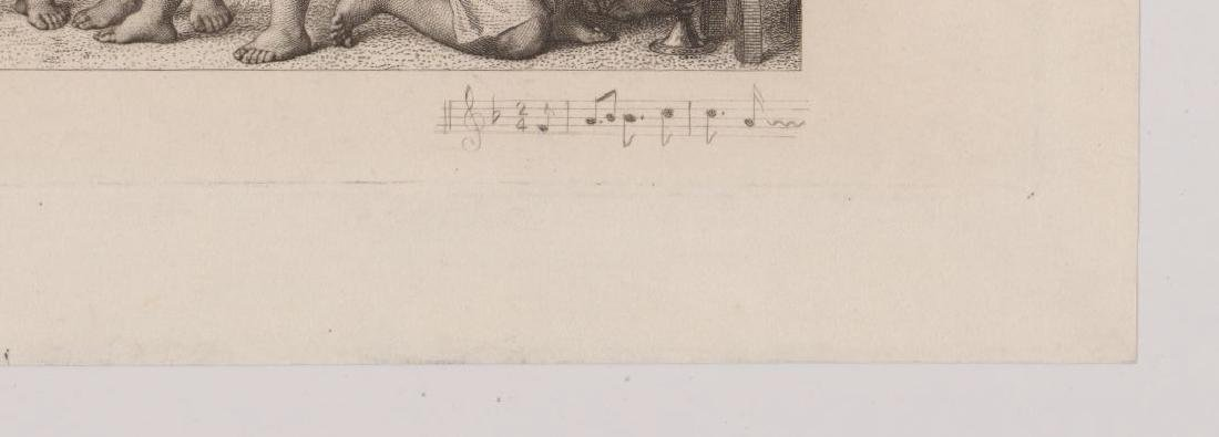 An Antique Etching Children's Choir and Wine - 3