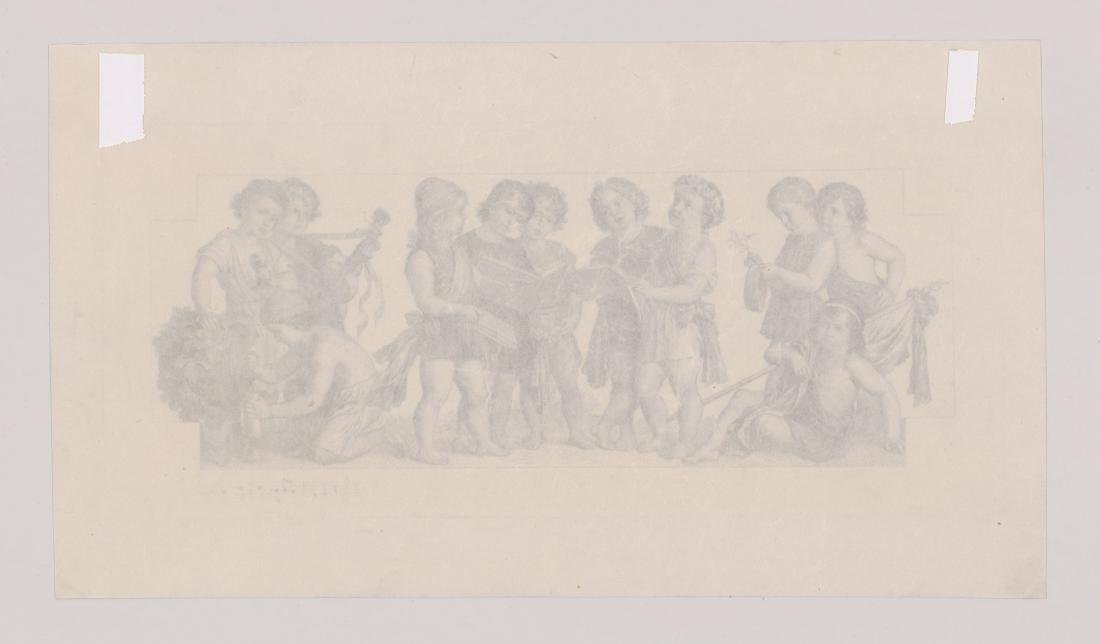 An Antique Etching Children's Choir and Wine - 4