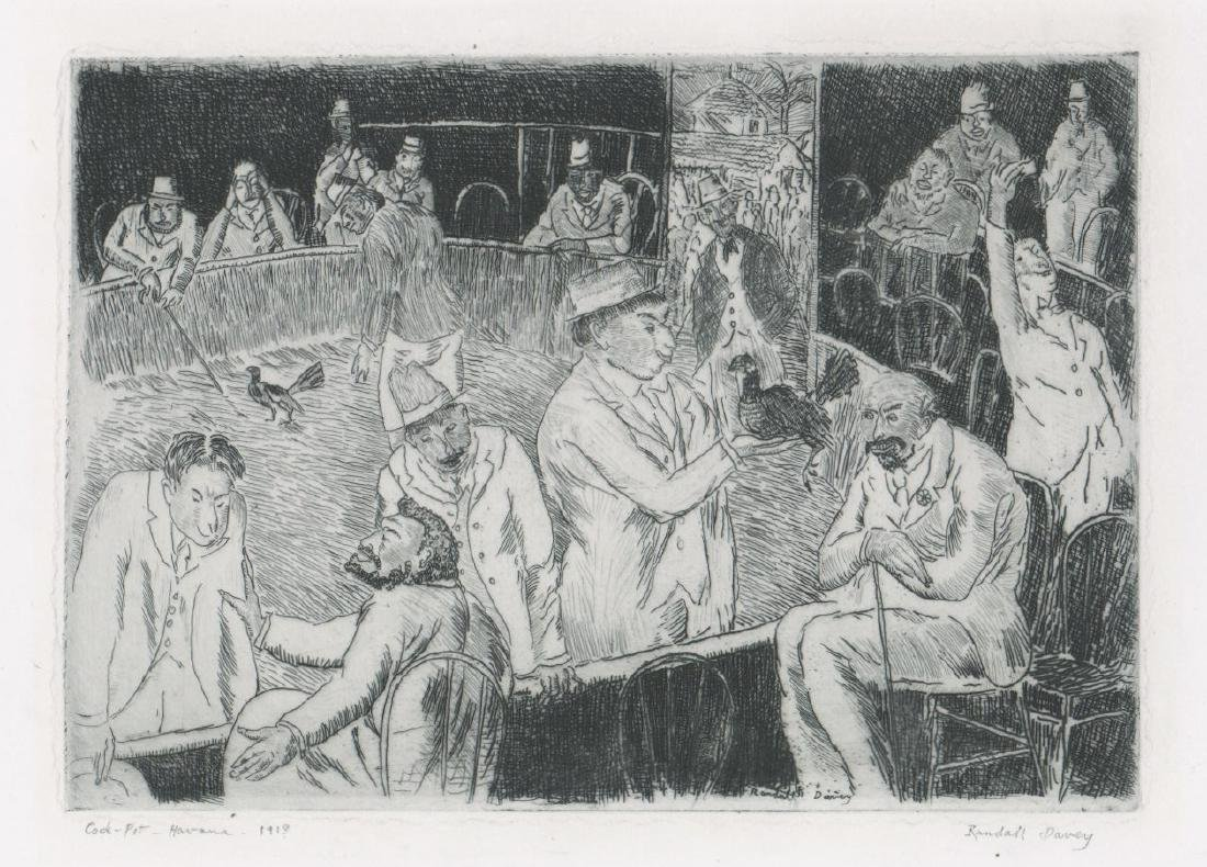 Randall Davey Early Etching [Cock-Pit-Havana]