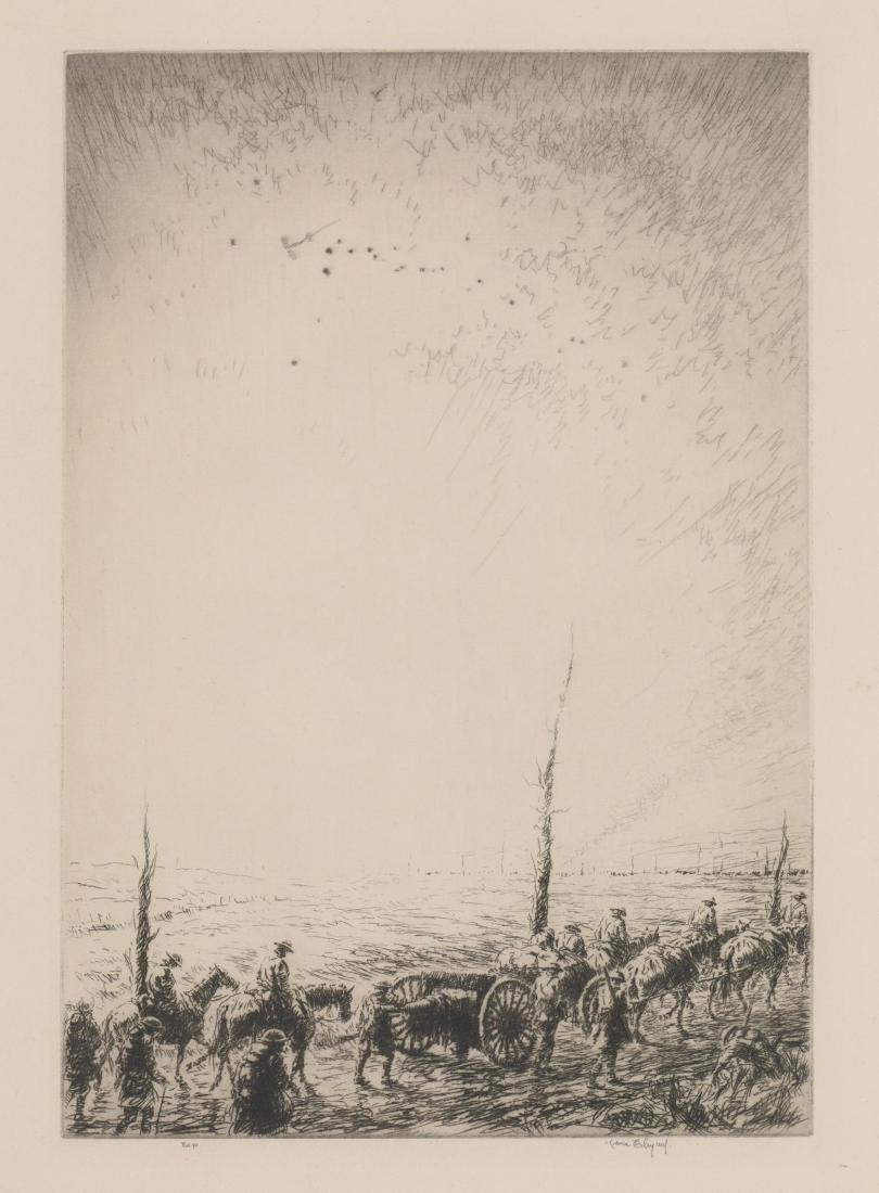 Kerr Eby Etching [Scout Planes at Dawn]