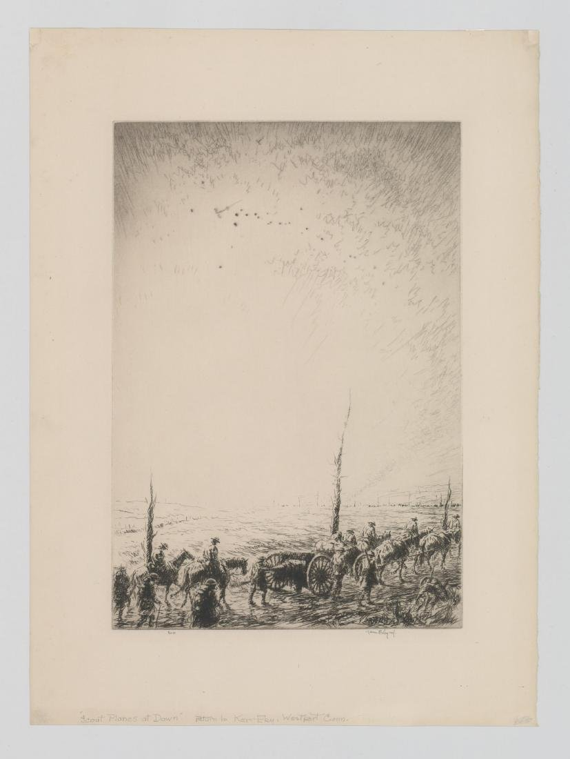 Kerr Eby Etching [Scout Planes at Dawn] - 2