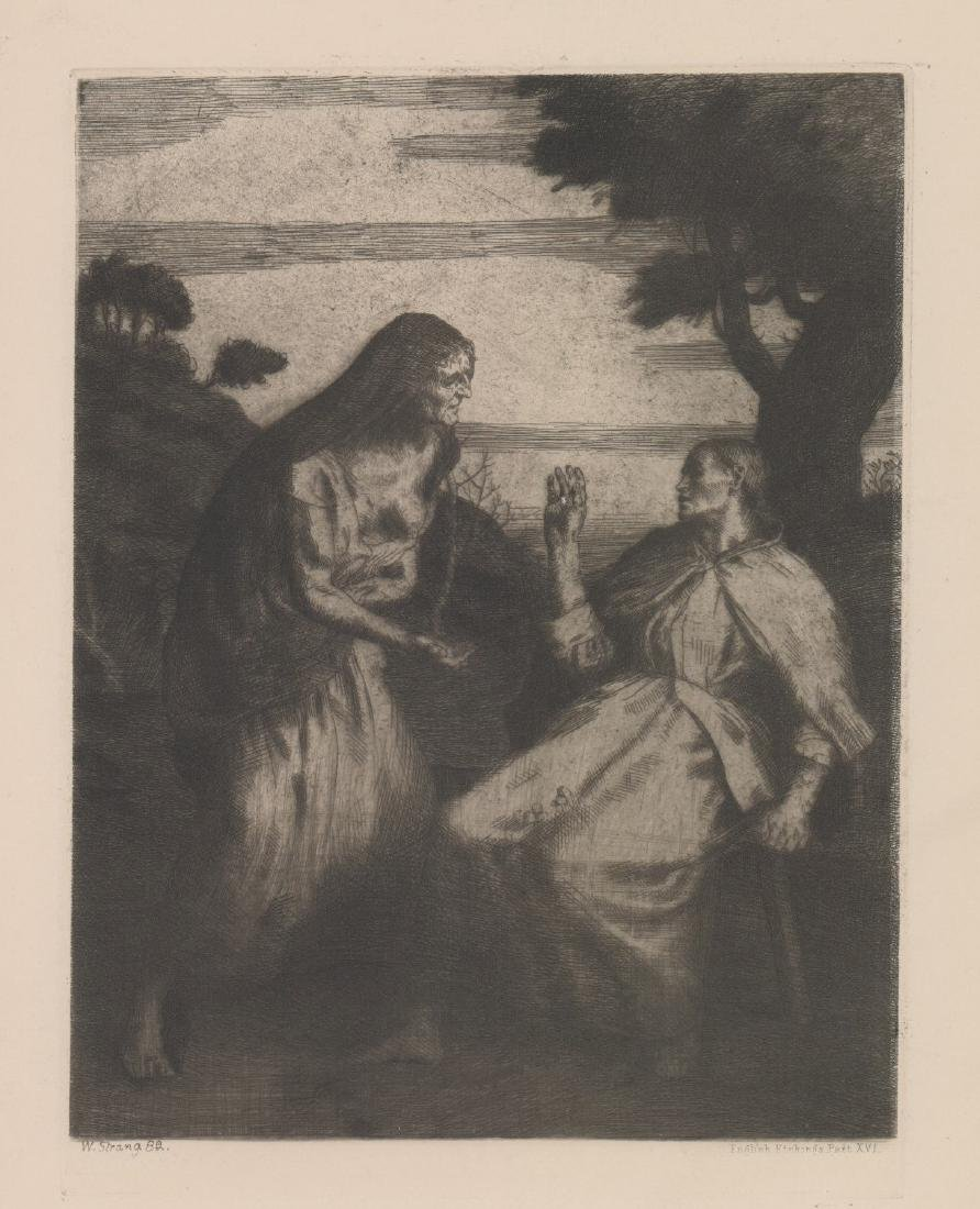William Strang Signed Etching, Dated 1882
