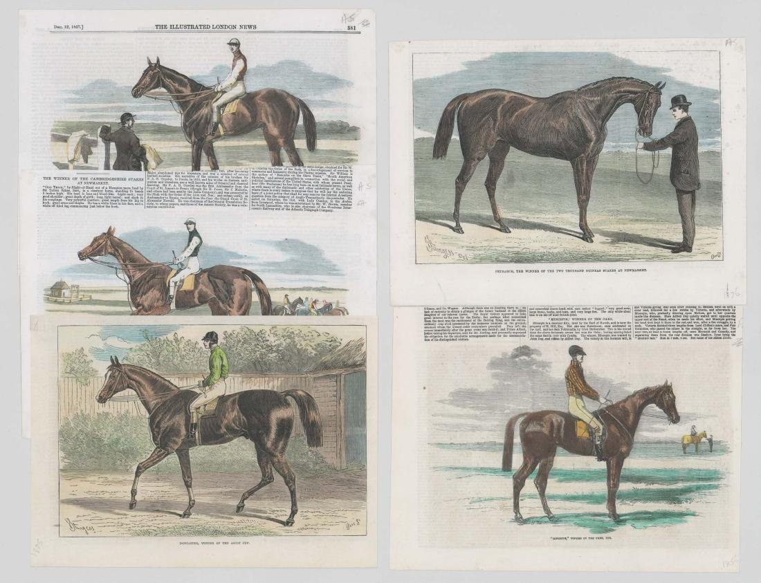 Group of Five 19th Century Horse Racing Prints