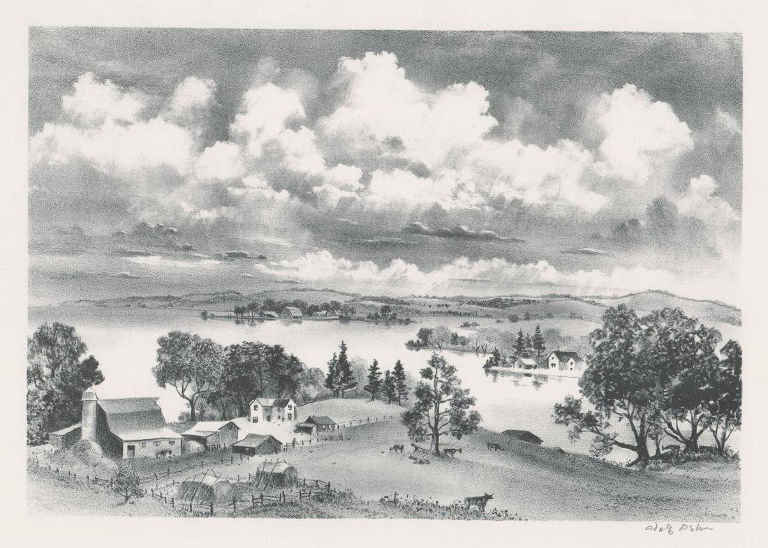 Adolf Dehn Lithograph [Minnesota Landscape]