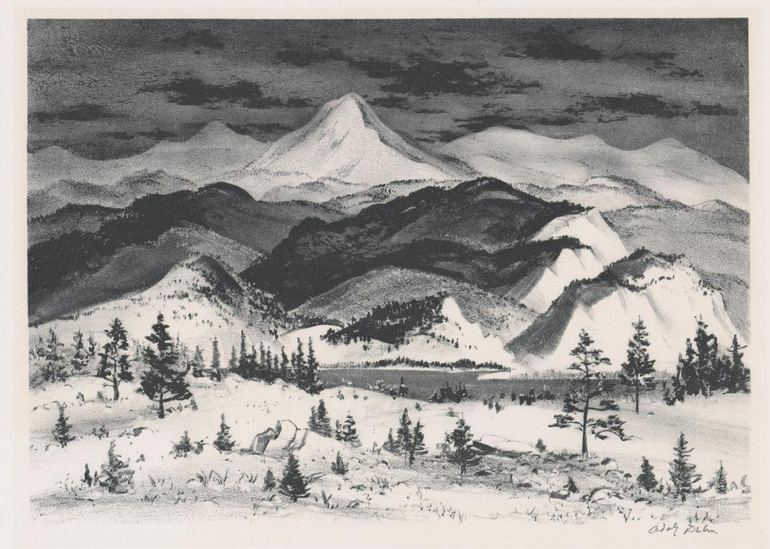 Adolf Dehn Lithograph [Winter In The Rockies]