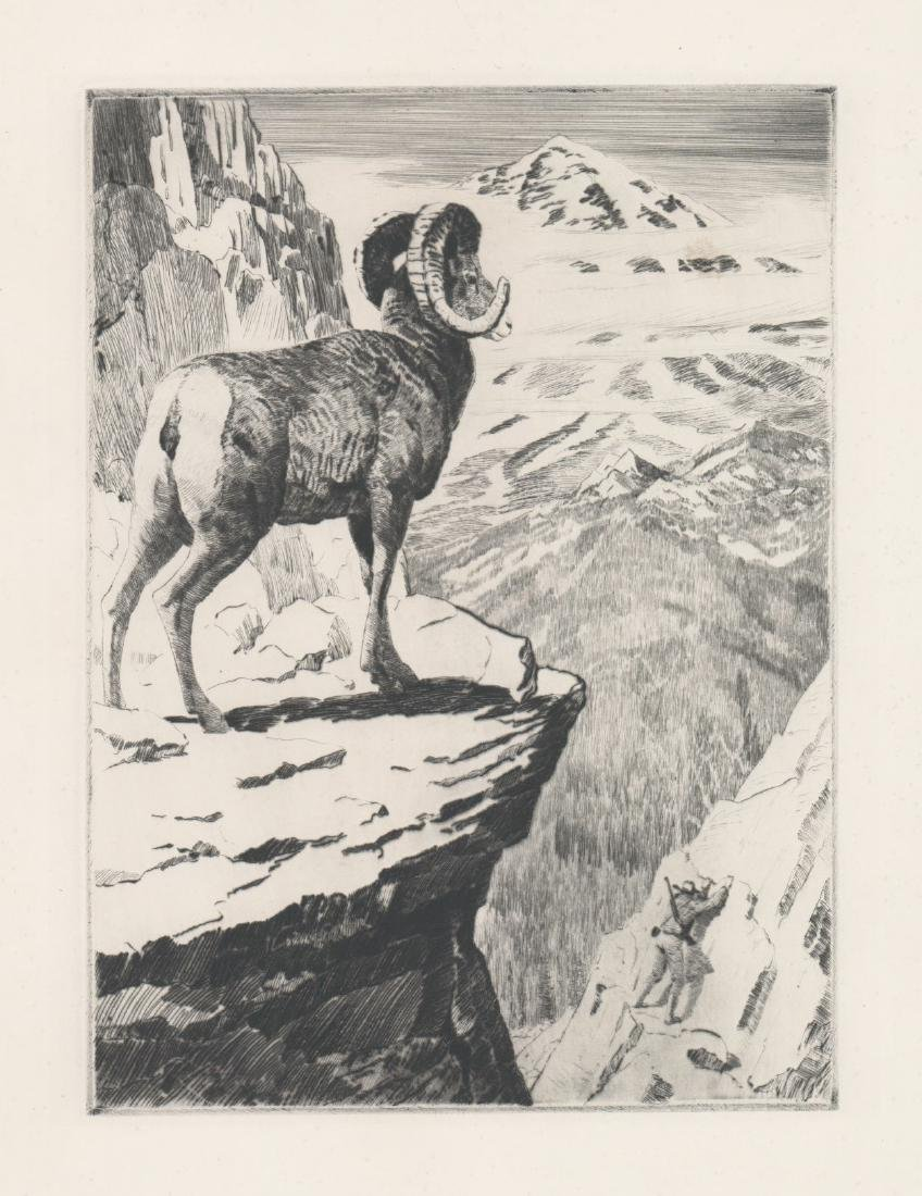 A Fine Etching With Climber and Mountain Goat