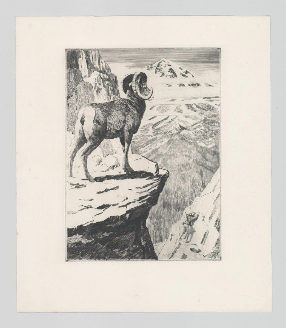 A Fine Etching With Climber and Mountain Goat - 2