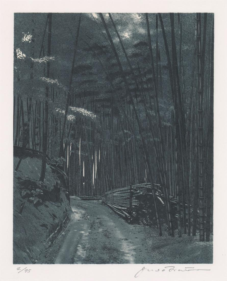 A Fine Japanese Etching of Bamboo Forest