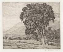 Luigi Lucioni Etching [Classic Pastures]