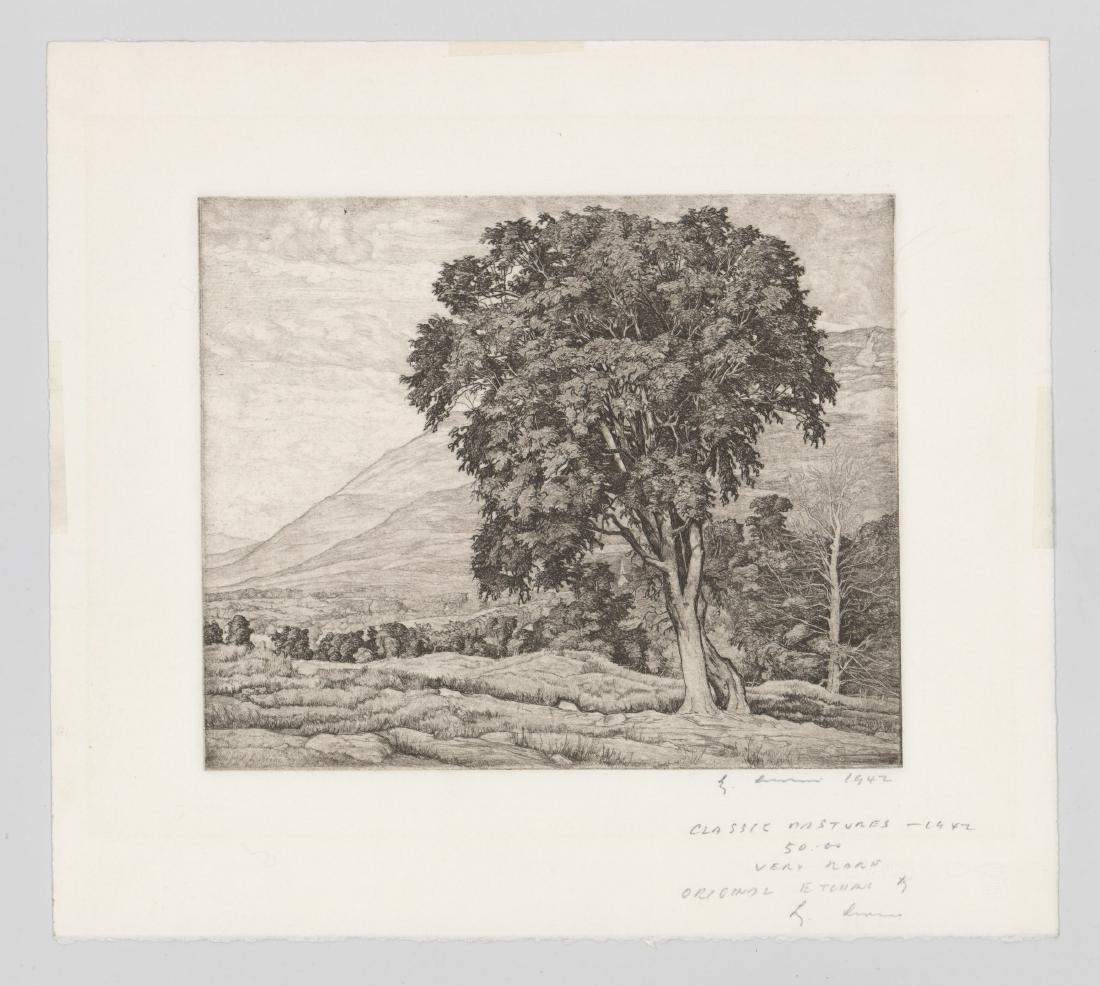 Luigi Lucioni Etching [Classic Pastures] - 2