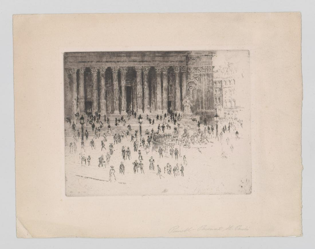 Joseph Pennell Etching [Pavement St. Paul's] - 2