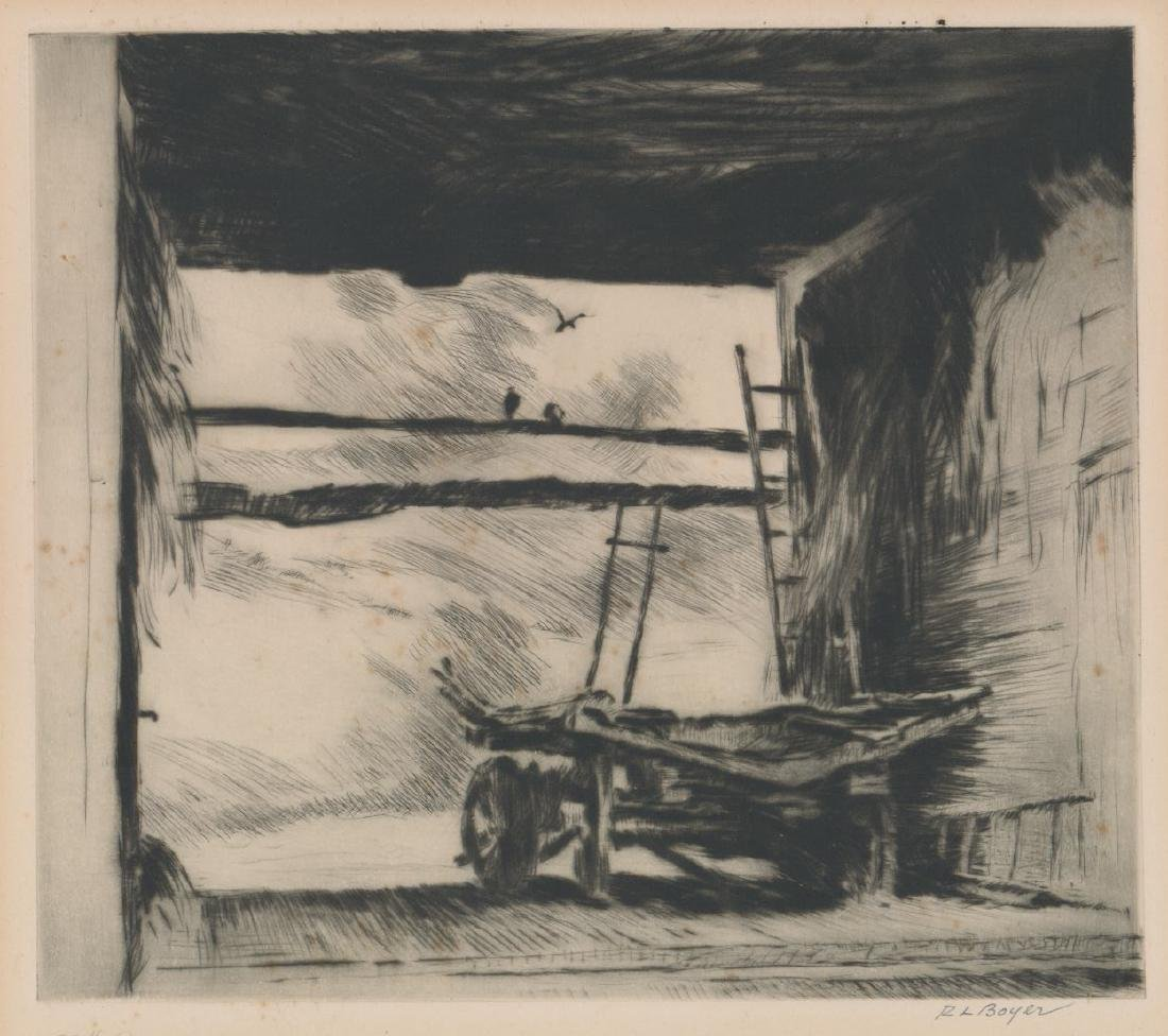 Ralph Ludwig Boyer Drypoint [Connecticut Barn]