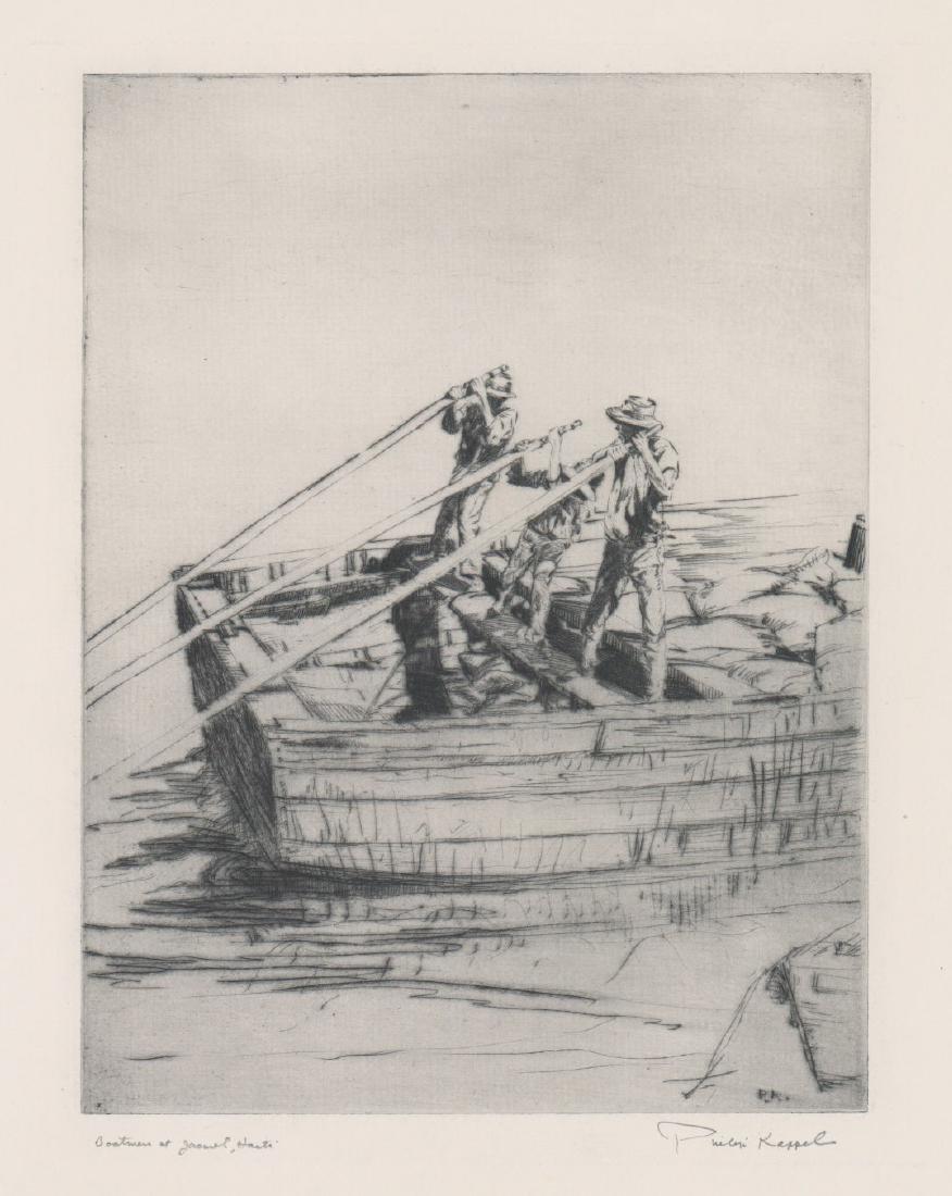 Philip Kappel Etching [Boatmen at Jacmel, Haiti]