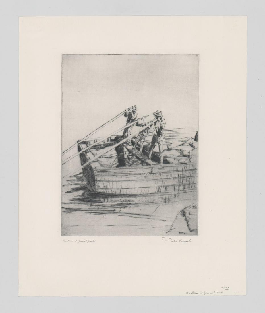 Philip Kappel Etching [Boatmen at Jacmel, Haiti] - 2