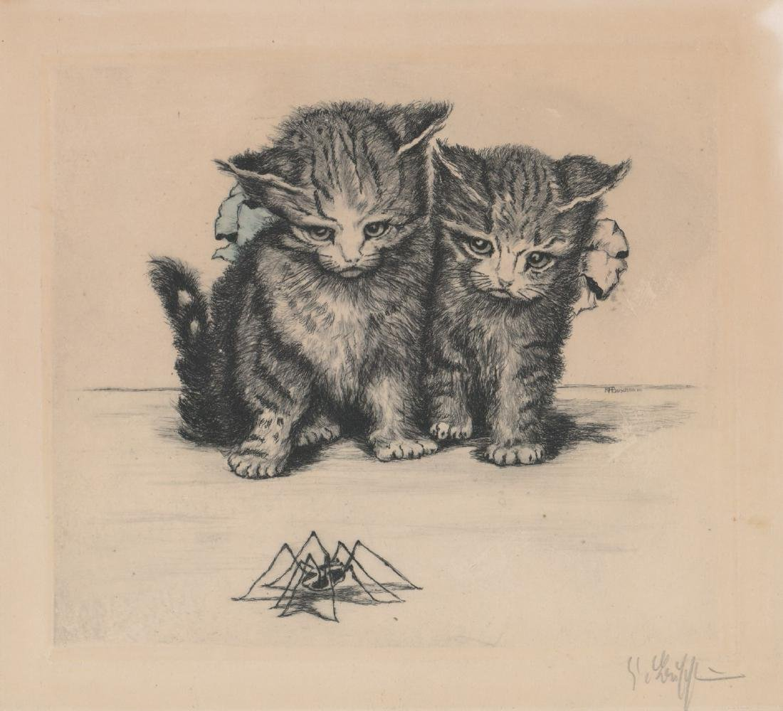A Signed Etching Kittens and Spider