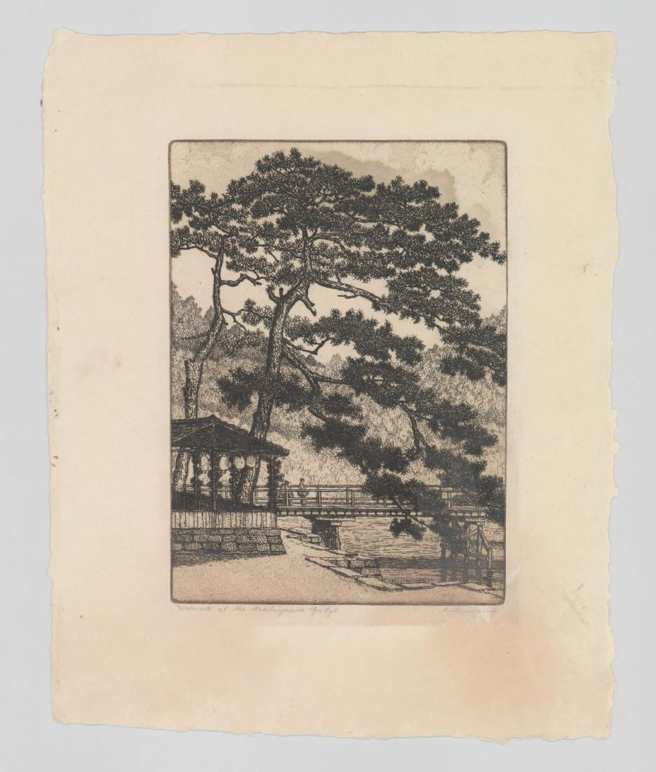 Hans Luthmann Arashiyama Bridge Signed Etching - 2