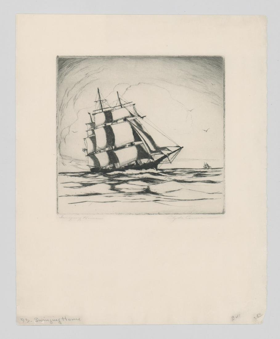 A Fine Etching [Swinging Home] Signed Illegibly - 2