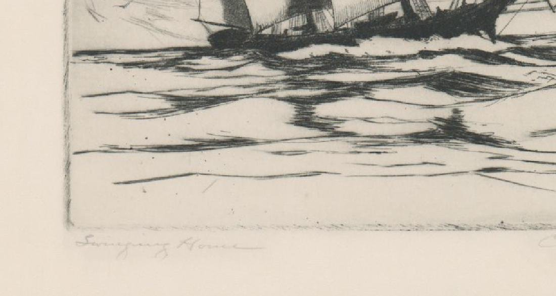 A Fine Etching [Swinging Home] Signed Illegibly - 4