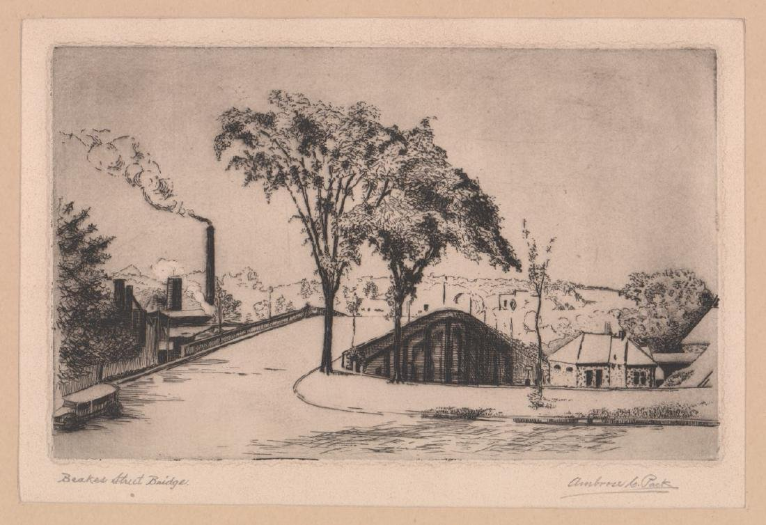 Ambrose C. Pack (Michigan) Signed Etching