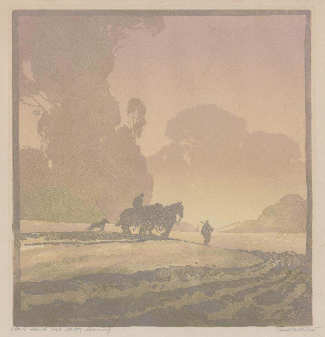 Ernest W. Watson Woodblock Print [Misty Morning]