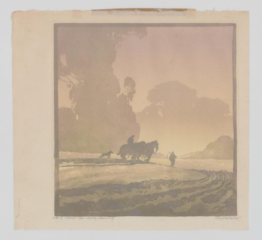 Ernest W. Watson Woodblock Print [Misty Morning] - 2