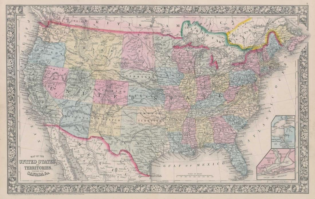 Mitchell's 1860 Map of The U.S. and Territories