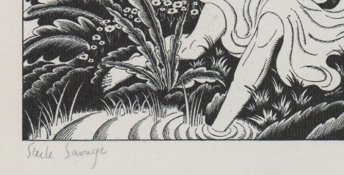 Steele Savage Signed Woodcut Engraving - 3