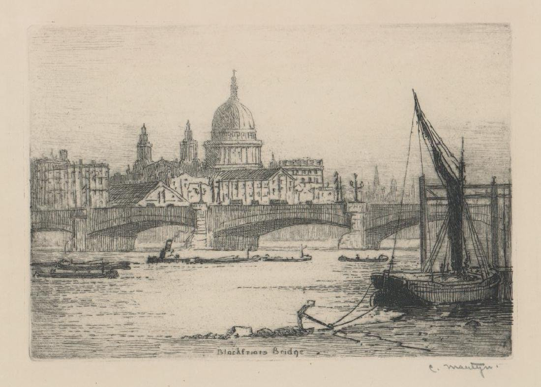 Blackfriars Bridge Signed Etching