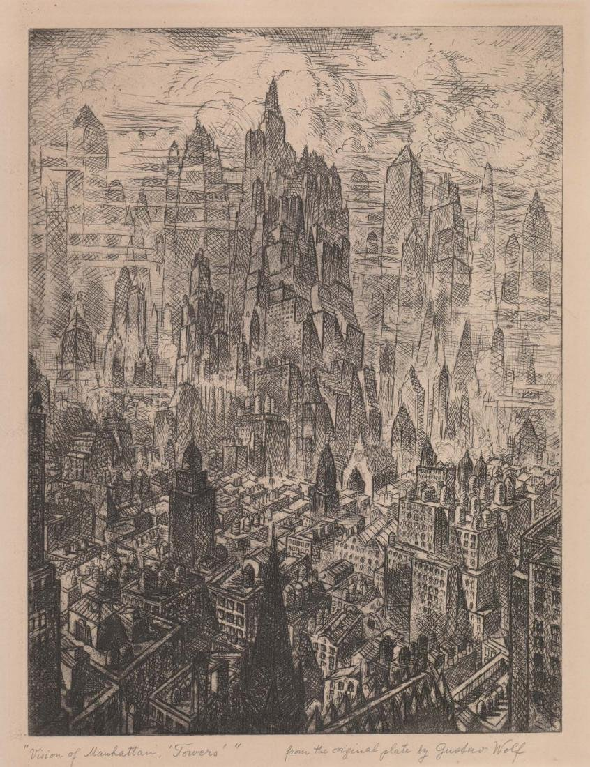 "Gustav Wolf Etching ""Vision of Manhattan, Towers"""
