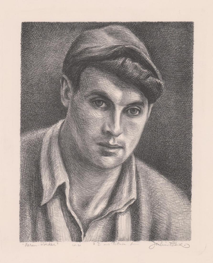 Julius Bloch Lithograph [Farm Worker]