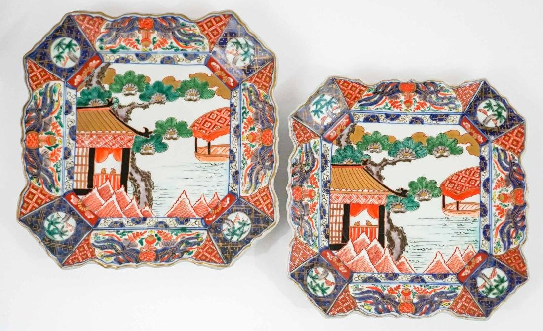 Two Imari Square Large Wedding Plates Fukugawa