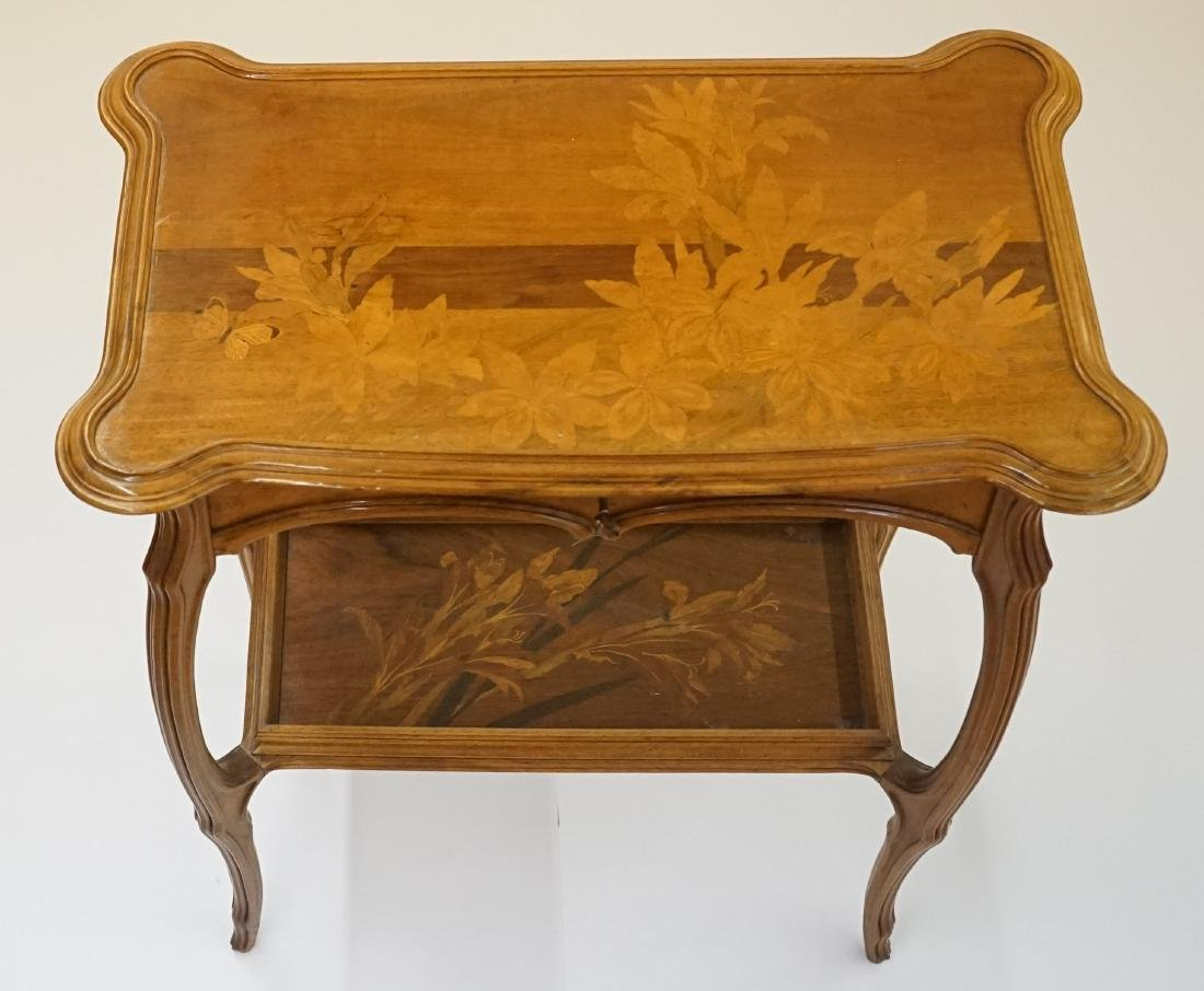 Emile Galle Art Nouveau Inlaid & Carved Side Table