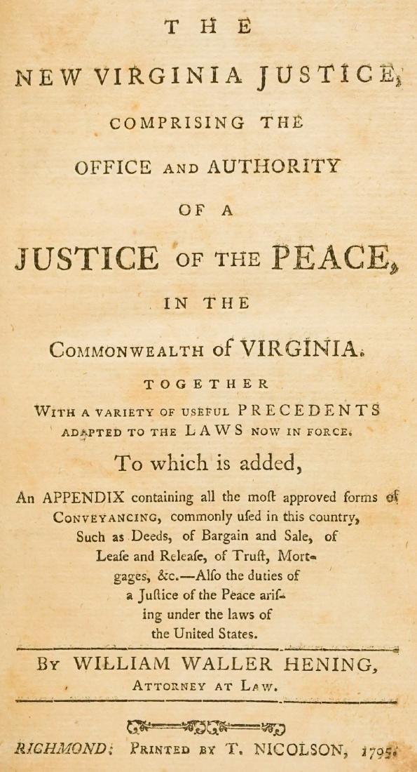The New Virginia Justice by W. W. Hening 1795