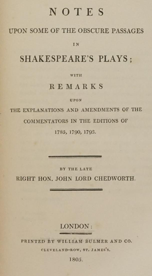 Notes in Shakespeare's Plays by Chedworth 1805