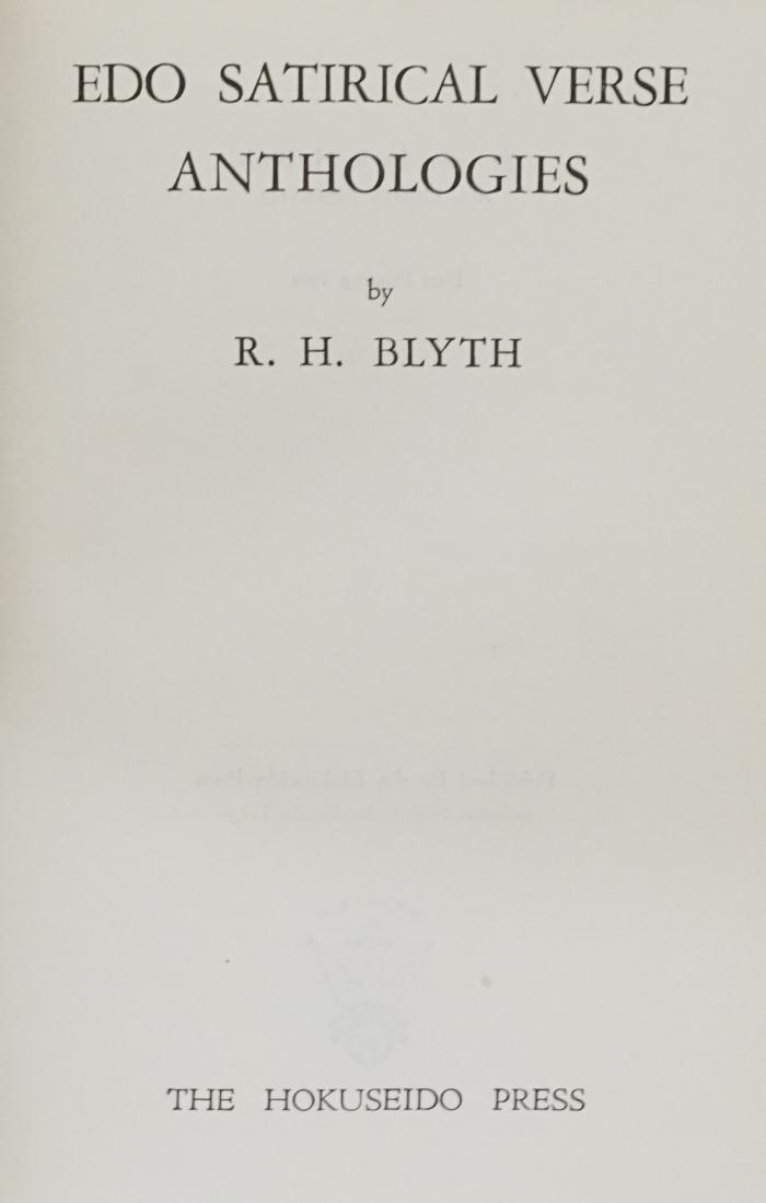 Edo Satirical Verse Anthologies by R. H. Blyth